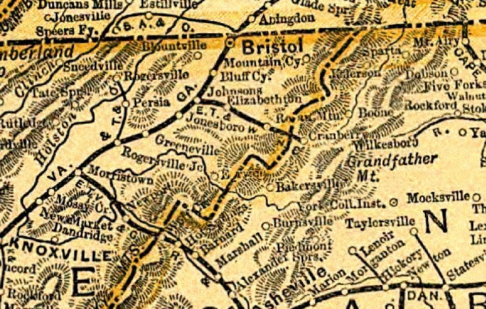 Maps Johnsons Depot Johnson City Tennessee - 1889 us railroad map